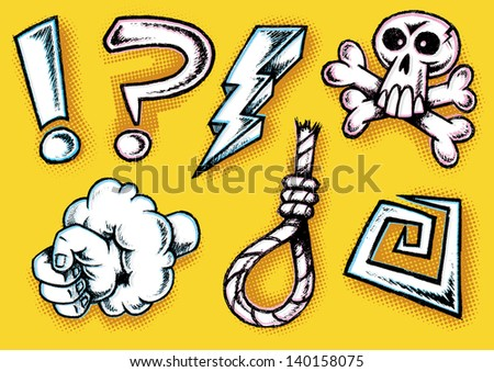 Hand Drawn Retro Styled Cartoon Doodle Cursing Icons  - stock vector