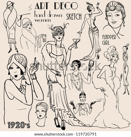 Hand drawn retro women of twenties, sketch,  20s, 30s - stock vector
