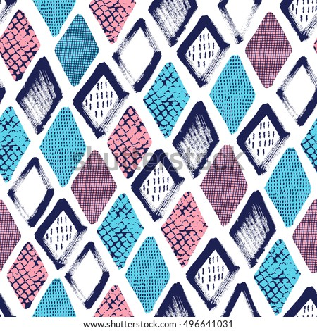 Hand drawn rhombus seamless pattern. Surface design. Vector illustration.