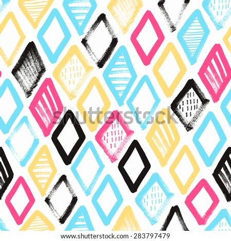 Hand drawn rhombus seamless pattern. Vector illustration. - stock vector