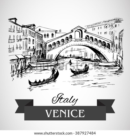 Hand drawn rialto bridge venice