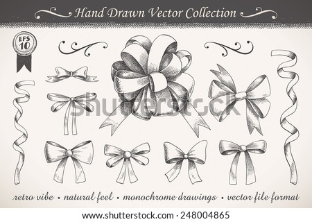 Hand drawn ribbons and bows set A collection of graphic ribbons and bows - stock vector