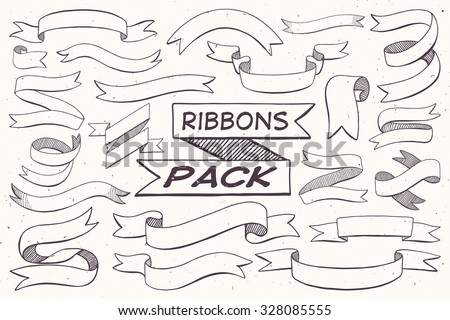 Hand Drawn Ribbons Pack for light backgrounds - stock vector