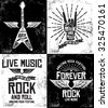 Hand drawn Rock festival poster. Rock and Roll hand sign set