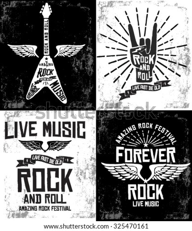 Hand drawn Rock festival poster. Rock and Roll hand sign set - stock vector