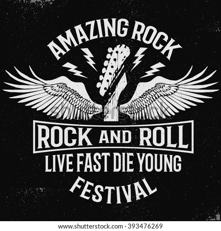Hand drawn Rock festival poster. Rock and Roll sign - stock vector