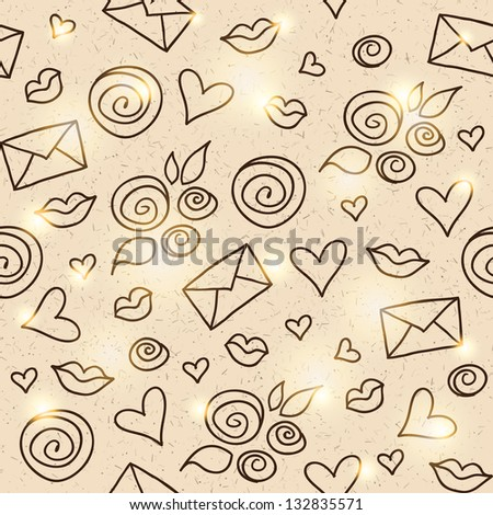 hand drawn romantic pattern with roses, hearts and envelopes