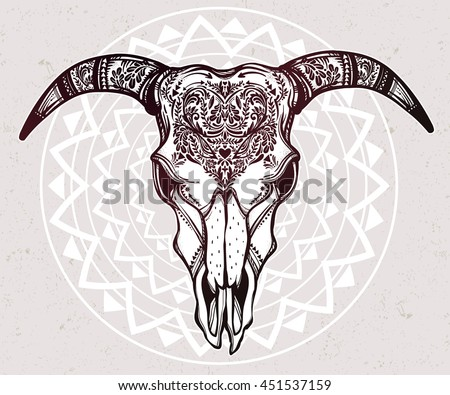 hand drawn cow bull skull vector stock vector 499281925 shutterstock. Black Bedroom Furniture Sets. Home Design Ideas
