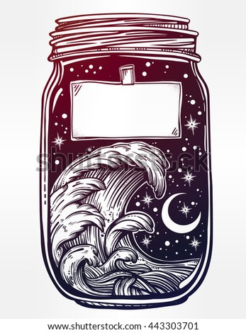 Hand drawn romantic wish jar with night sky and water waves in the sea or ocean . Vector illustration isolated. Tattoo design, mystic magic symbol for your use. Blank space for your text on a label.