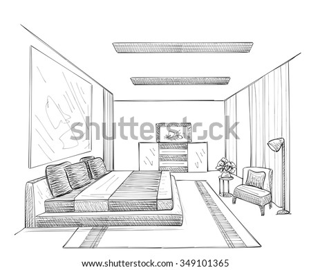 Bed sketch stock images royalty free images vectors Room sketches interior design