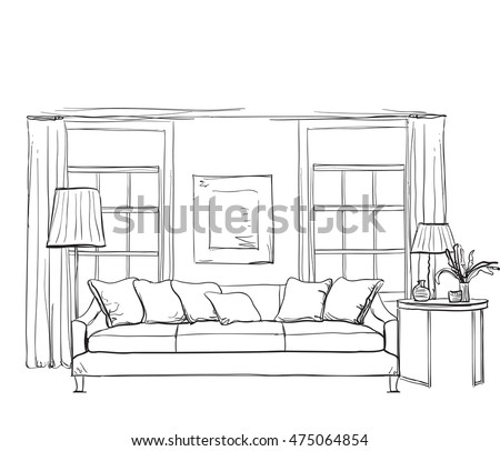 Hand drawn room interior sketch chair 475064854 for Living room outline