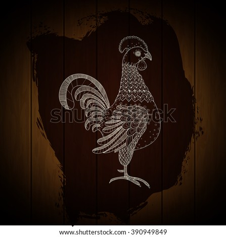 Hand drawn rooster on painted splash and wood texture background. Cock for farm design. Poultry symbol. Farm animal sign. Agriculture industry art. Vector illustration. - stock vector