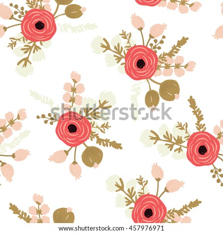 Hand drawn rose seamless modern floral pattern