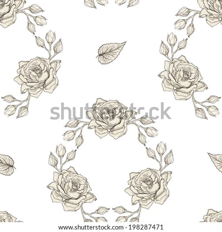 Hand drawn roses wreath seamless pattern. Vintage engraving style - stock vector