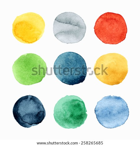 Hand drawn round watercolor design elements. Vector illustration. - stock vector