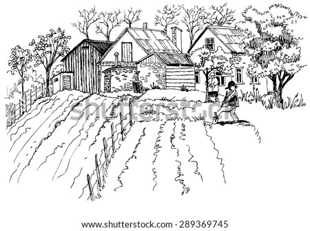 Hand-drawn rural landscape sketch - stock vector