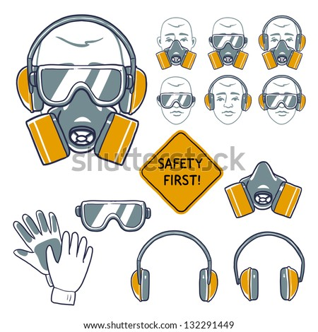 hand drawn safety signs. Eye protection, hear protection, wear respiratory protection and hand protection. safety first sign - stock vector