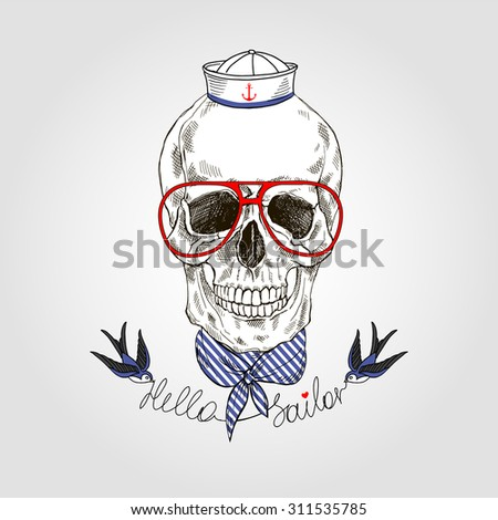 hand drawn sailor scull, navy design, t-shirt print - stock vector