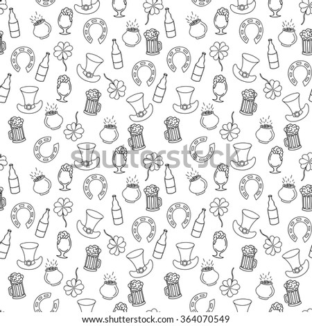 Hand drawn Saint Patrick's Day seamless pattern for adult coloring pages in doodle style, ethnic ornamental vector illustration with beer, pot of money, four leaf clover - stock vector