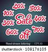 Hand-drawn sale lettering with percents off (design elements/stickers) - vector illustration. - stock photo