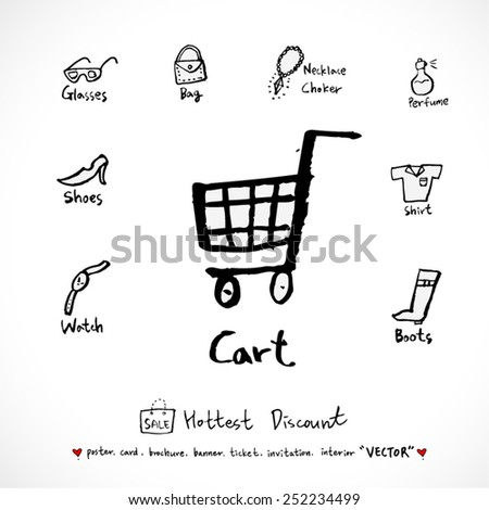 Hand drawn Sale poster /  vector - illustration - stock vector