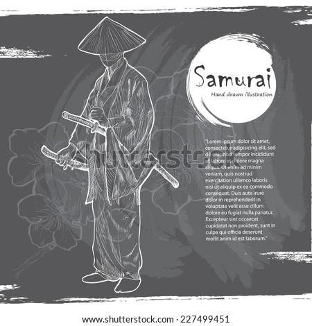 Hand drawn Samurai illustration. - stock vector