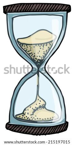 Hand drawn sand clock, vector illustration - stock vector