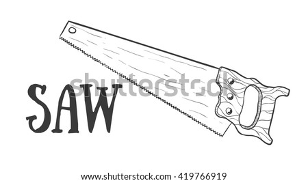 Hand drawn saw vector sketch. Doodle drawing. Vector sketch house remodel tool. Home repair service. Flat style toola for building