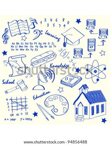 Hand Drawn School Icon Set       vector eps10 - stock vector