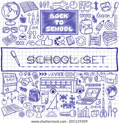 Hand drawn school icons set, pen drawn on paper effect. Vector Illustration. - stock vector