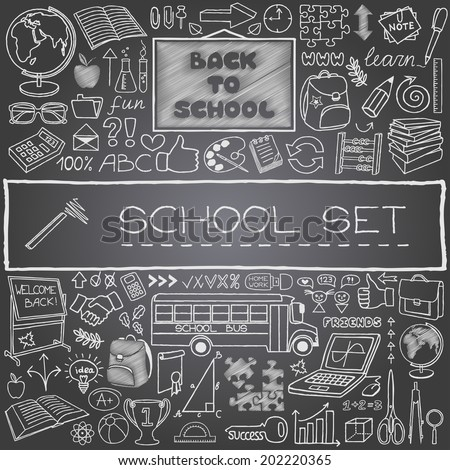 Hand drawn school icons set with backboard, school bus, school supplies, thumbs up and more. Black chalkboard effect. Back to school concept. Vector Illustration. - stock vector