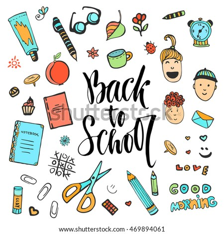 Hand drawn school stationery icon set. Vector collection in doodle style. Back to school