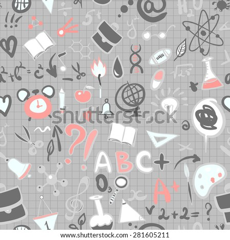 Hand Drawn School Supplies Pattern on Lined Notebook Paper. Vector Illustration. - stock vector