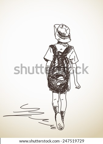Hand drawn schoolboy with backpack Vector sketch - stock vector