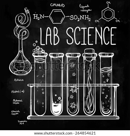 Hand drawn science laboratory icons sketch. Chalk on a blackboard. Vector illustration.Back to School. Science lab objects doodle style sketch, Laboratory equipment and formulas. - stock vector