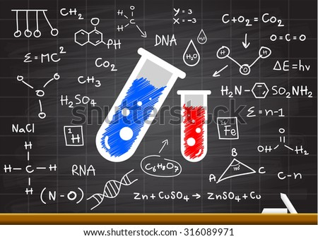 Hand drawn science on chalkboard - stock vector