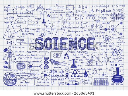 Hand drawn science on paper. - stock vector