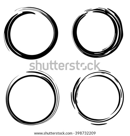 Hand drawn scribble circles. Black sloppy circle on a white background. Logo design elements. Vector illustration - stock vector