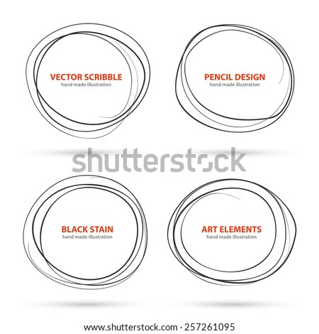 Hand drawn scribble circles template set. Monochrome creative illustration. Vector - stock vector