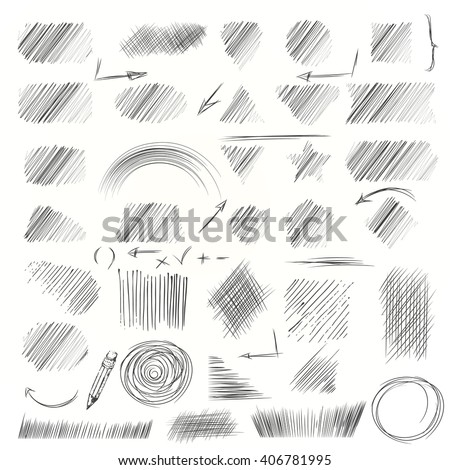 Hand drawn scribble shapes. A set of doodle line drawings. Pencil sketches. Vector design elements. Hatching with a pencil in vector - stock vector