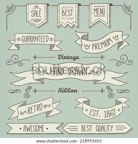 Hand Drawn Scroll Elements and Page Decoration - stock vector