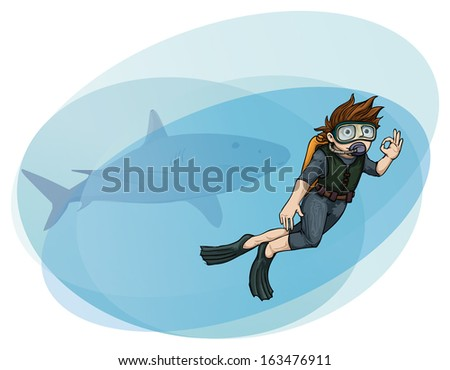 Hand drawn scuba diver, with a shark behind him, vector illustration - stock vector