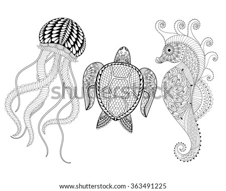 Hand drawn Sea Horse, Jellyfish and Turtle for adult coloring pages in doodle, zentangle tribal style, ethnic ornamental tattoo, patterned prints. Set sea animal vector illustration for coloring book - stock vector