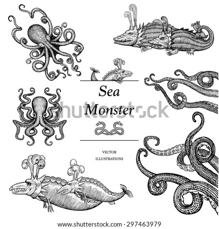 Hand Drawn Sea Monsters in woodcut style (each creature/tentacle is an individual vector and can be separated from groups and rearranged) - stock vector