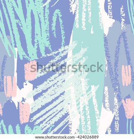 Hand drawn seamless abstract pattern in purple, green, blue and pink. Modern textile, greeting card, poster, wrapping paper designs. - stock vector