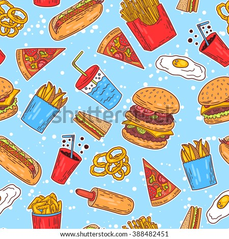 Hand-drawn seamless american fast food pattern. Vector illustration. - stock vector