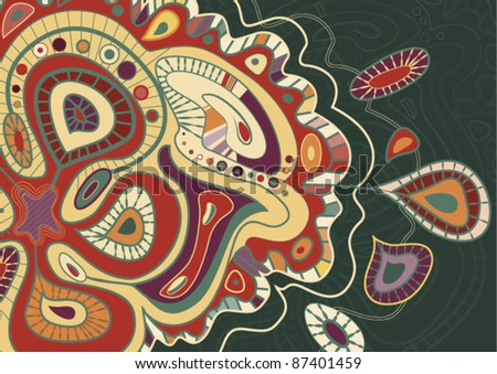 hand-drawn Seamless background from a paisley ornament. Vector Illustration on green Background - stock vector
