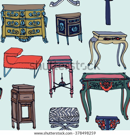 Hand drawn seamless colorful pattern with set of living furniture - chairs, armchairs, stool, tables, bureau. Design of postcard , textile, notebook, book.