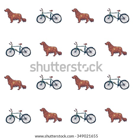Hand drawn seamless dog and bicycle pattern in vector - stock vector
