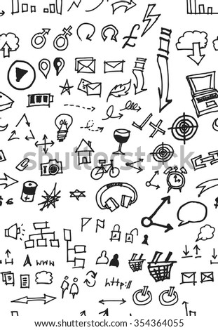 Hand drawn seamless doodle pattern with business symbols